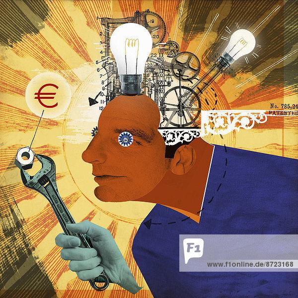 Glühbirnen und Zahnräder in dem Kopf eines Mannes der ein Eurozeichen mit einem Schraubenschlüssel anpasst