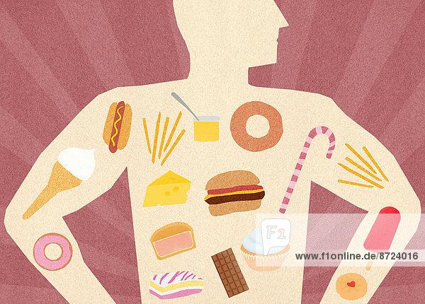 Auswahl von ungesunden Lebensmitteln in dem Körper eines Mannes
