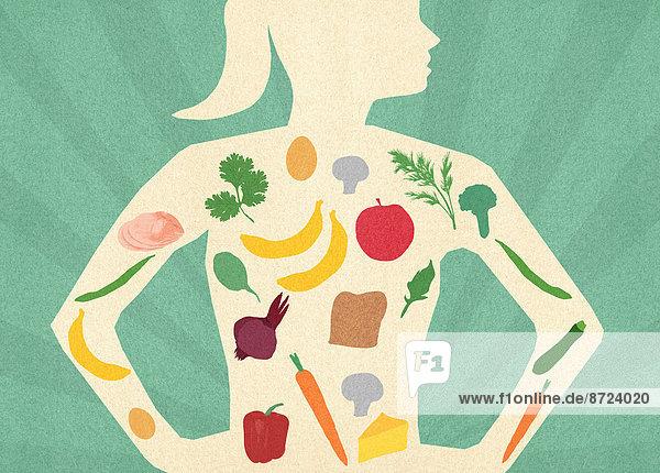 Auswahl von gesunden Lebensmitteln in dem Körper einer Frau