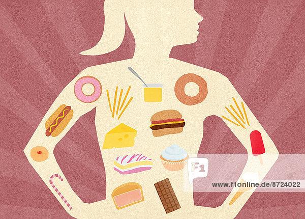 Auswahl von ungesunden Lebensmitteln in dem Körper einer Frau