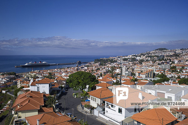 View of the town of Funchal  port at the back  Madeira  Portugal