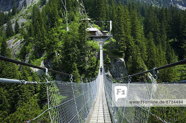 Suspension bridge  Handegg ? Gelmerbahn funicular railway  Grimselwelt Trail  Canton of Bern  Switzerland