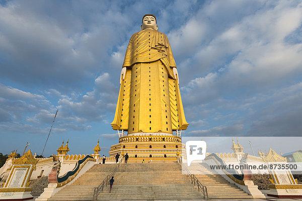 Stairs  Lay Kyun Sakkya  standing Buddha statue  Maha Bodhi Ta Htaung  Monywa  Sagaing Region  Myanmar