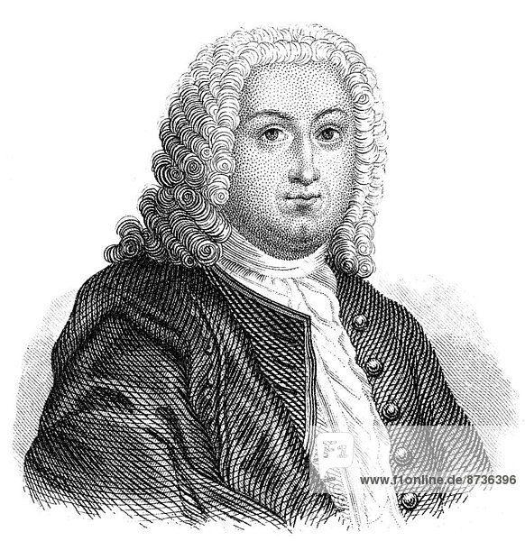 Porträt von Johann Christoph Gottsched  1700 - 1766  deutscher Schriftsteller  Dramatiker und Literaturtheoretiker der Aufklärung