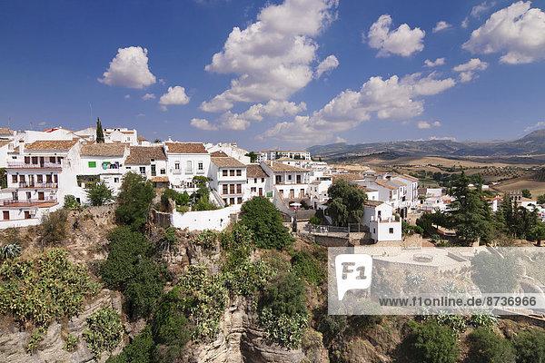 Ecke Ecken Gebäude Ansicht bauen Schlucht Andalusien Ronda Spanien