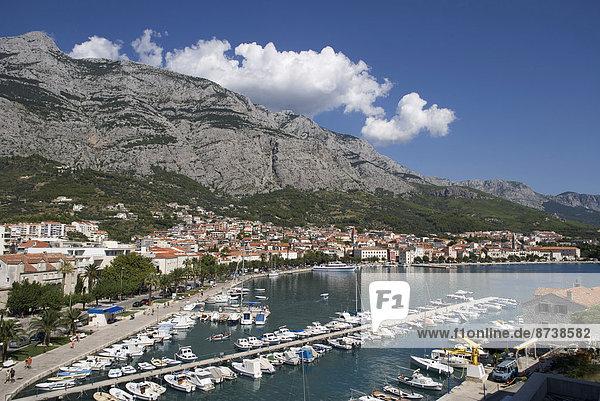 Fishing boats in the harbour  the Biokovo Mountains at the back  Promajna  Makarska Riviera  Dalmatia  Croatia