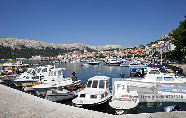 Townscape  boats in the harbour  Ba?ka  Kvarner Gulf  Krk Island  Croatia