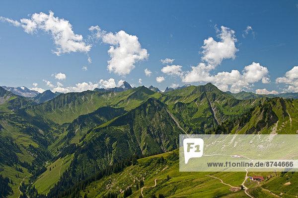 Österreich  Vorarlberg  Kleinwalsertal  Allgäuer Alpen  Panorama  Lüchle Alp