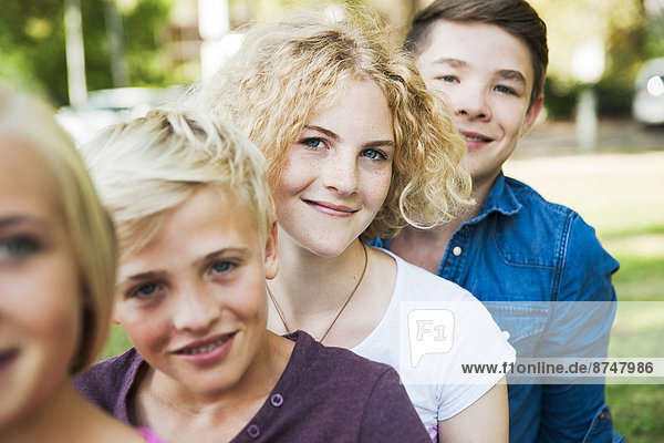Portrait of Teenagers Outdoors  Mannheim  Baden-Wurttemberg  Germany