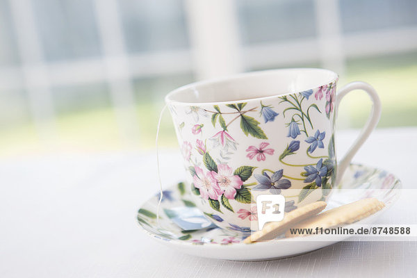 Studioaufnahme  Tasse  Blume  Untertasse  Keks  hübsch  Tee