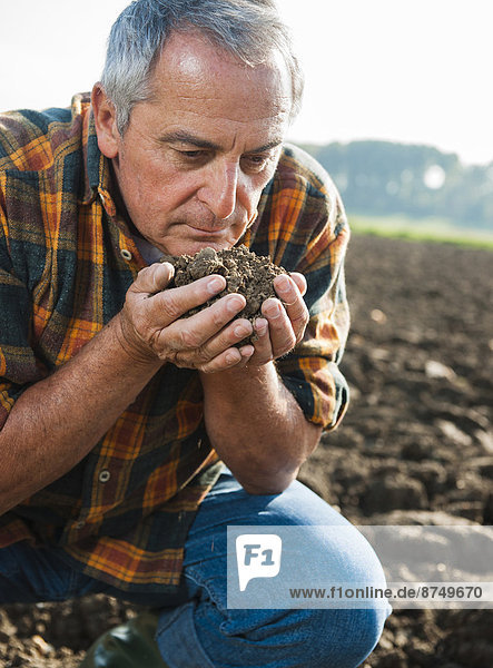 Close-up of farmer working in field  holding and smelling soil in hands  Germany