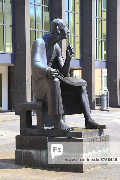 Albertus Magnus in front of the university building  Cologne  Germany