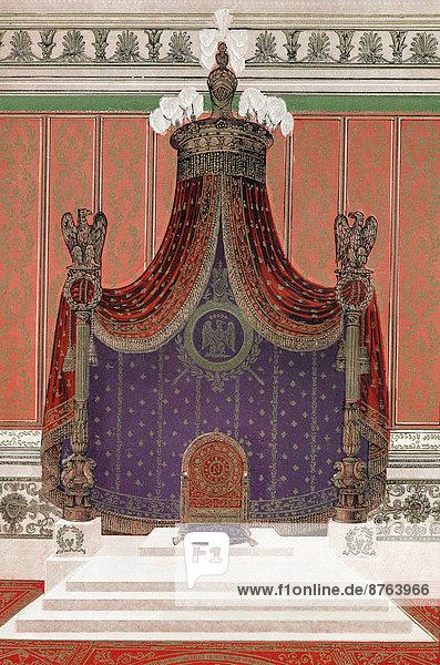 Napoleon's Imperial Throne  design by Pierre François Léonard Fontaine  historical illustration