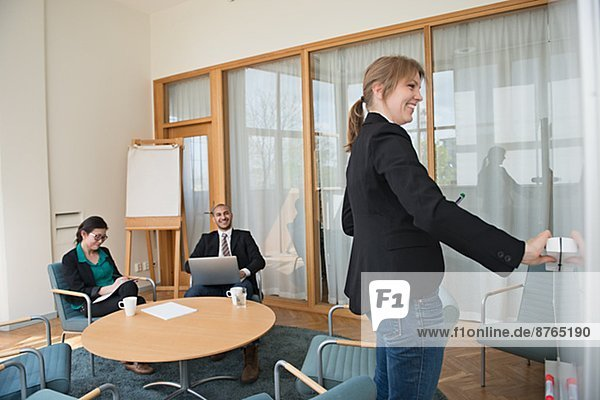 Woman having presentation in conference room  Stockholm  Sweden