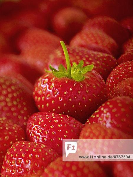 Extreme Nahaufnahme von reifen Erdbeeren