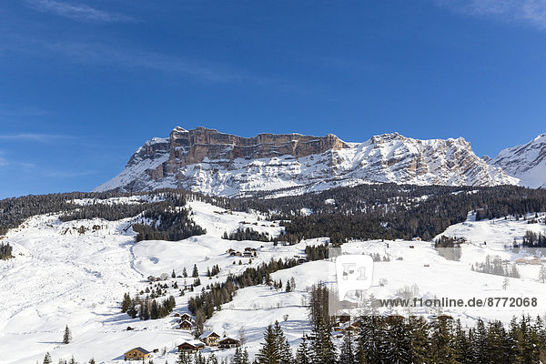 Italy  Dolomites  Alto Adige  Kreuzkofel  winter sport region Alta Badia  La Villa