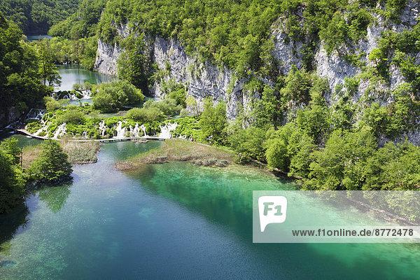 Die unteren Seen Gavanovac und Milanovac  Nationalpark Plitvicer Seen  UNESCO Weltnaturerbe  Kroatien