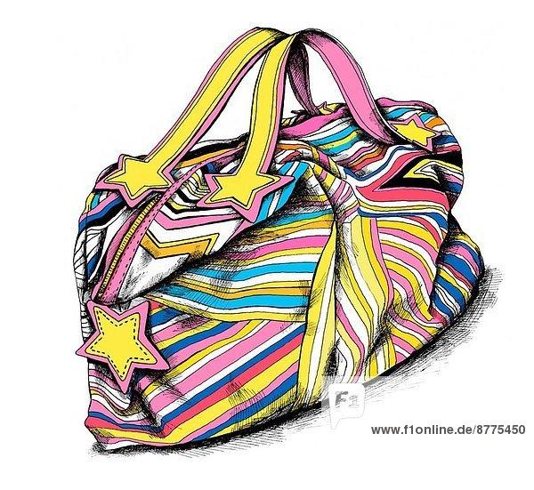 Farbaufnahme  Farbe  Tasche  über  Illustration  weiß  Hintergrund