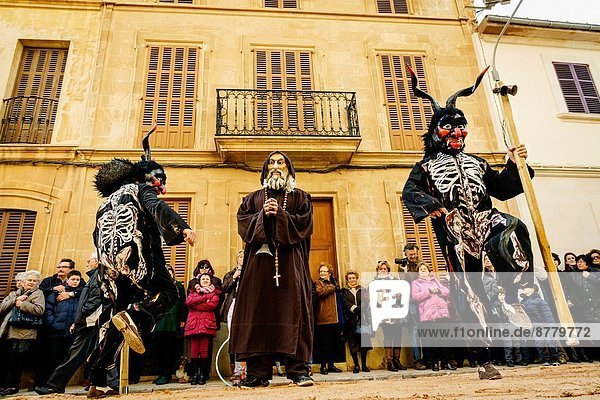 struggles and temptations of demons to san antonio for the blessing of the animals in Sant Antoni  pattern pets  Llucmajor  Mallorca  Balearic Islands  Spain.