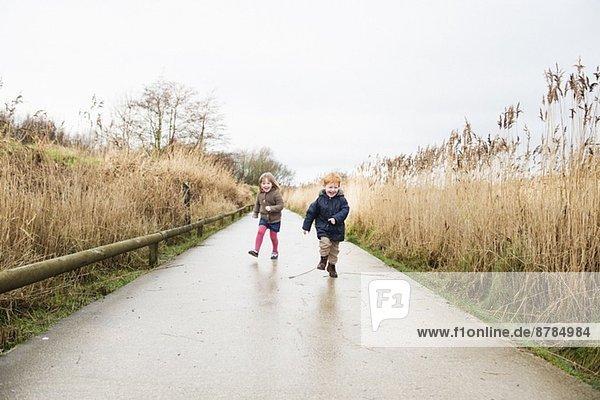 Junge Schwester und Bruder auf dem Landweg