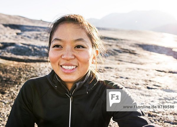 Portrait of young female hiker  Squamish  British Columbia  Canada