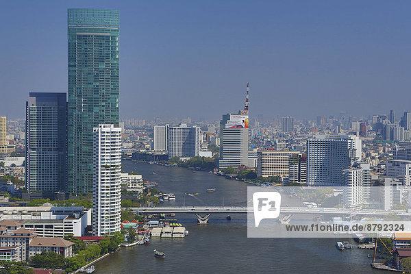 Bangkok  Hauptstadt  Skyline  Skylines  Reise  Großstadt  Boot  Brücke  Fluss  Tourismus  Asien  Innenstadt  Thailand