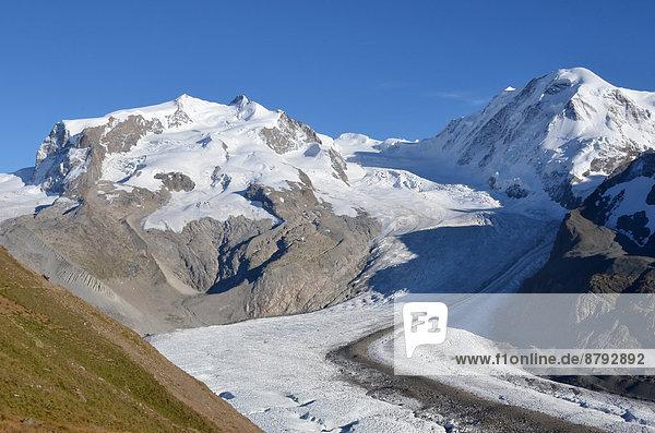 Felsbrocken Europa Berg Sport Sommer Natur Alpen Monte Rosa Gletscher Saas Fee schweizerisch Schweiz Zermatt