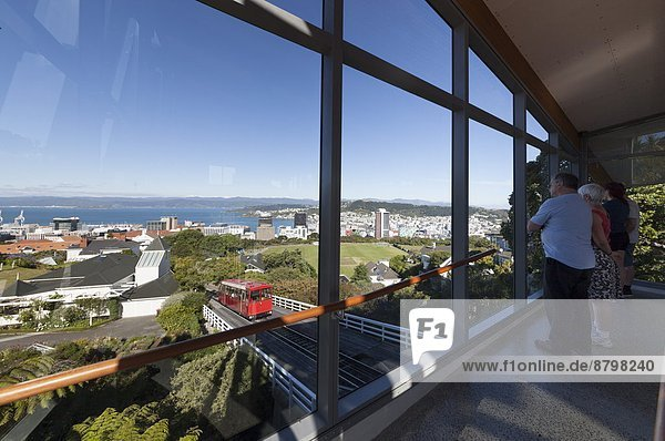 Viewing area  new top terminus station for Wellington Cable Car  Kelburn  Wellington  North Island  New Zealand  Pacific