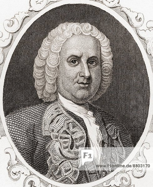 Sir William Pepperrell  1st Baronet  1696 – 1759. American merchant  statesman and soldier in Colonial Massachusetts. From Gallery of Historical and Contemporary Portraits  Engravings.