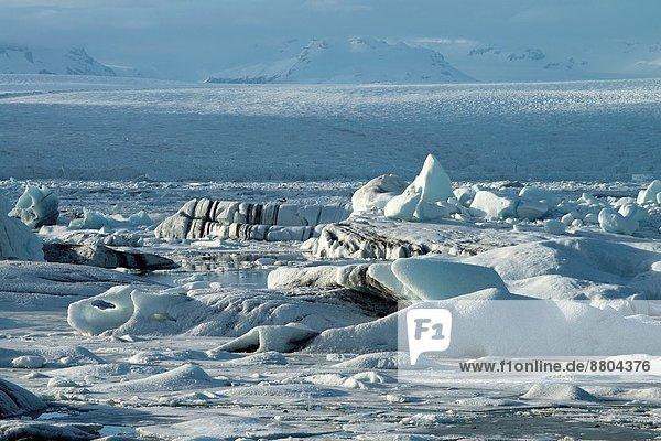 Gletscher  Vatnajökull  zeigen  entleeren  Island  Lagune