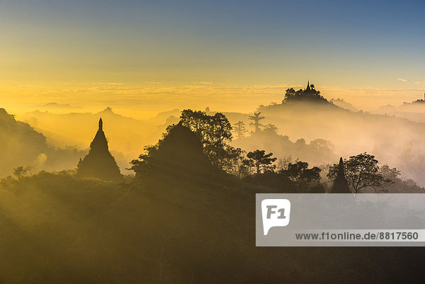 Pagodas surrounded by trees  in the mist  in the morning light  Mrauk U  Sittwe District  Rakhine State  Myanmar