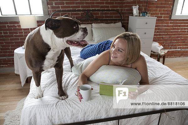 Europäer  Frau  Entspannung  Bett  Hund