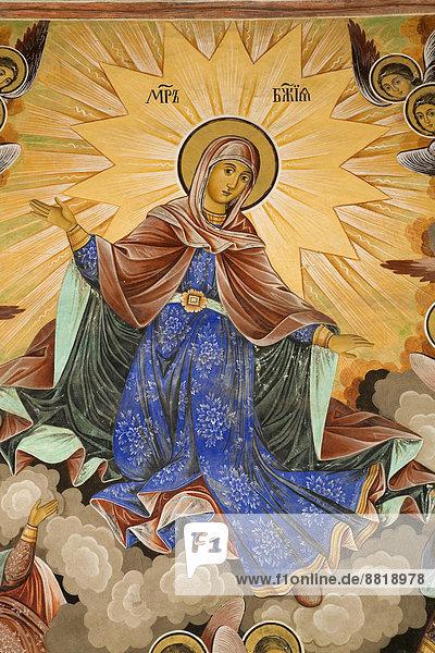 Religiöses Fresko an der Außenseite der Mariä-Geburt-Kirche im Rila-Kloster  Rila  Bulgarien