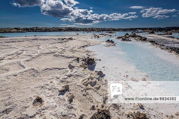 Kraftwerk nahe Wasser baden blau Schwimmbad Heiße Quelle Island Lagune Svartsengi