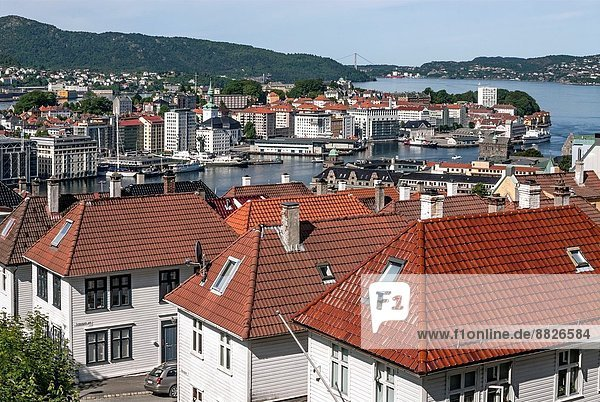 View over the historic old town of Bergen  Norway.