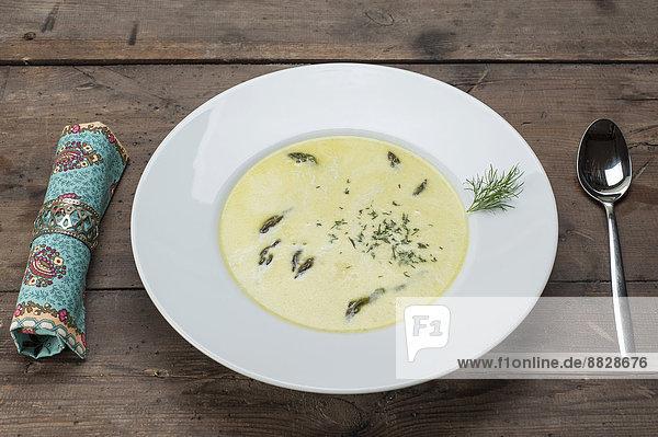 grün Spargel Suppe