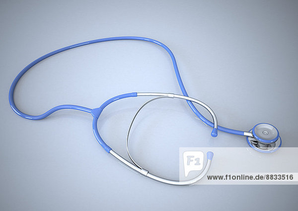 Blue stethoscope in front of grey background  3d rendering