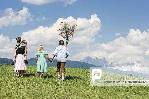 Austria  Salzburg State  Altenmarkt-Zauchensee  four children with Palmbusch walking on alpine meadow