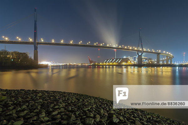 Deutschland  Hamburg  Koehlbrandbrücke bei Nacht Deutschland, Hamburg, Koehlbrandbrücke bei Nacht