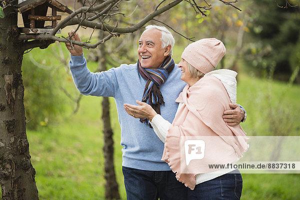 Seniorenpaar beobachtet ein Vogelhaus