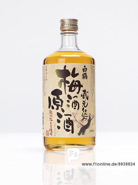 Bottle of premium Japanese white crane plum wine Umeshu sake