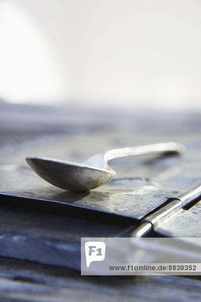 Abstraktion  Löffel  Ansicht  Metall  Schieferplatte