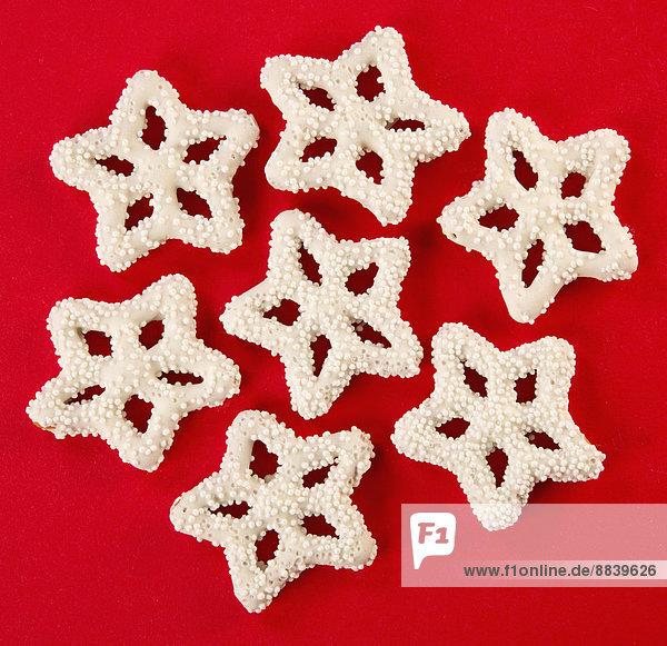 bedecken  Schneeflocke  weiß  Weihnachten  Schokolade  Form  Formen  Brezel