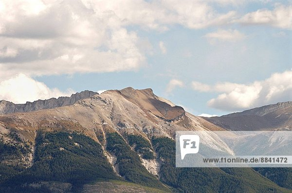 Old Man Mountain as seen from the town of Jasper in Jasper National Park.