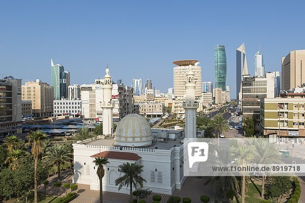 Elevated view of the modern city skyline and central business district  Kuwait City  Kuwait  Middle East