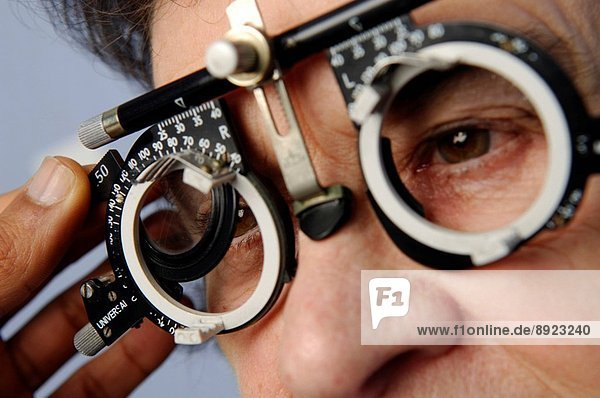A trial frame is used to find the best lens for a patient with a refraction problem. Short sight or long sight are among the most common visual problems  with the latter increasing with age. A regular eye exam  including tests with the trial frame  is ess