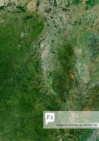 Auvergne Region  France  True Colour Satellite Image. Auvergne region  France  true colour satellite image. This image was compiled from data acquired by LANDSAT 5 & 7 satellites.