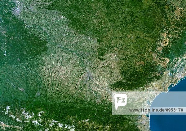 Midi_Pyrenees Region  France  True Colour Satellite Image. Midi Pyrénées region  France  true colour satellite image. This image was compiled from data acquired by LANDSAT 5 & 7 satellites.