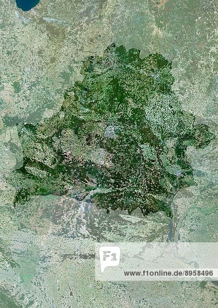 Belarus  Europe  True Colour Satellite Image With Mask. Satellite view of Belarus with mask. This image was compiled from data acquired by LANDSAT 5 & 7 satellites.