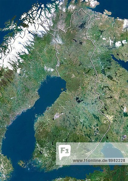 Satellite view of Finland with border. This image was compiled from data acquired by LANDSAT 5 & 7 satellites.
